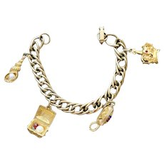 Small Vintage Charm Bracelet 1959 Princess Phone Crown More