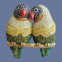 Large Joan Rivers Love Birds Brooch Pin Pave Rhinestone Sparkler