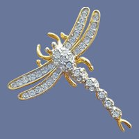 Dragonfly Brooch Sparkling Rhinestone Pin for Hat or Lapel