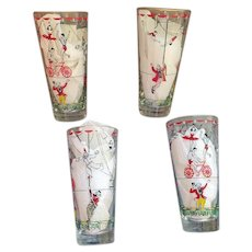 1950s Libbey Circus Themed Glass Tumblers Trapeze Clowns Tightrope