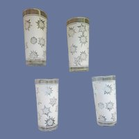 1960s Atomic Stars or Snowflake Glass Tumblers MCM