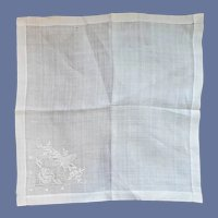 Wedding White Handkerchief Appenzell Embroidery Butterflies Roses