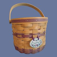 1996 Longaberger Basket Sweet Pea With Tie On Pottery