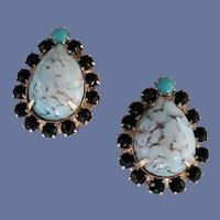 Vintage Clip Earrings Unsigned Schreiner Art Glass Rhinestones