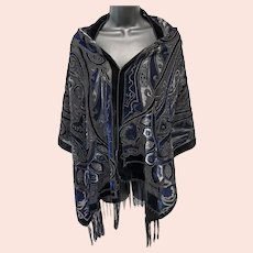 Dramatic Burnt Out Velvet Shawl or Scarf Silk Blend