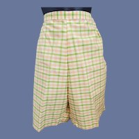 Vintage Shorts Unworn 1960s Pink Green Yellow Size Small
