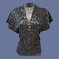 1930s Cocktail Blouse Black Rayon with Sequins Size Medium