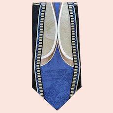 Vintage Silk Necktie Mint with Tag Art Deco Design