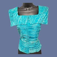 1950s Cotton Blouse Sequin Embellished Bust 34 Mid Century Modern