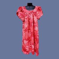 Vintage Cotton MuuMuu Dress Pink Coral Size Medium - Large