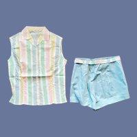 1960s Cotton Short Shorts and Blouse Set Unworn Small - Medium
