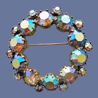 1950s Rhinestone Circlet Brooch Aurora Borealis Flash