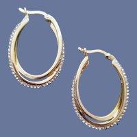 Gorgeous Rhinestone Hoop Earrings Sophisticated Double Loops