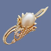 Large Faux Pearl Plume and Rhinestone Brooch 3 inches