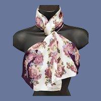 Long Silk Scarf Purple Lavender Pink Blue Designer Carole Little