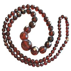 Art Deco Bakelite Necklace Faceted Cherry Beads 31 inches