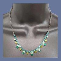 Rhinestone Necklace Emerald Teal Olivine Stones