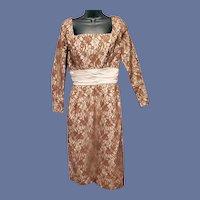 1950s Lace Cocktail Dress Designer Johnny Herbert Bust 36
