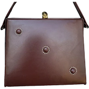 1950s Box Purse Brown Vinyl with Button Studs