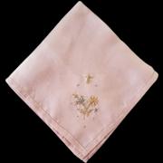 Pink Silk Handkerchief Hand Embroidered 1920s - 1930s Mint