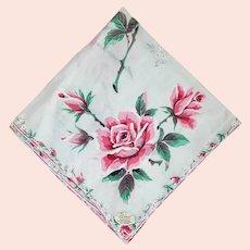 Vintage Cotton Handkerchief Hand Rolled Burmel Mint Hankie
