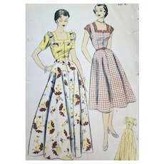 1940s Sewing Pattern Long House Coat and House Dress Bust 38