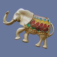 Fancy Parade Elephant Brooch Enameled Lucky Pachyderm