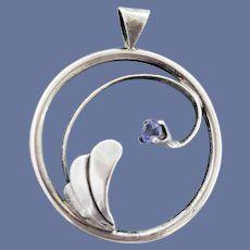 Exquisite Sterling Silver Pendant with Amethyst 4.8 Grams