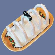 Lusterware Porcelain Toast Rack Letter or Napkin Holder 1930s Japan