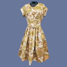 1950s Vintage Cotton Dress in Autumn Colors Bust 36