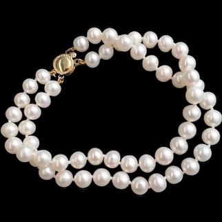 Delightful Double Strand Pearl Bracelet 14K Gold Clasp