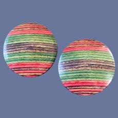 Wonderful Pierced Earrings Lightweight Painted Wood