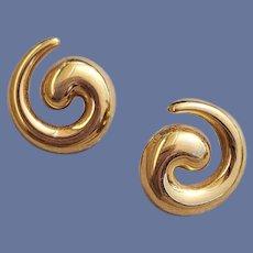 Classic 1975 Monet Pierced Earrings Designer Sophisticated Spirals