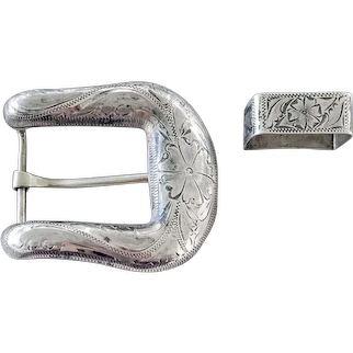 Hand Engraved Belt Buckle and Guide Ranger Set Sterling and Steel