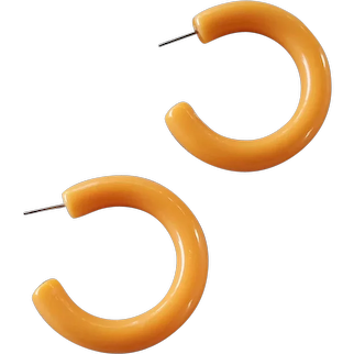 Vintage Hoop Earrings Warm Autumn Color Lightweight