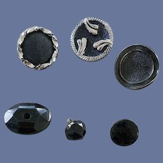 Black Glass Buttons Antique and Vintage 1900 - 1960