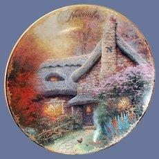 Small Thomas Kinkade November Plate Autumn at Ashley's Cottage