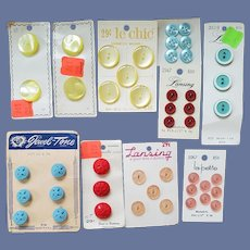 1940s - 1950s - 1960s Sewing Buttons 10 Cards Never Used