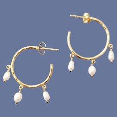 .925 Sterling and Vermeil Earrings with Pearls Pierced Hoops Sophisticated