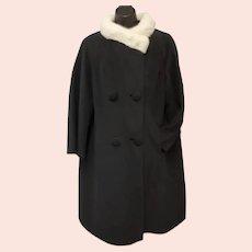 1960s Black Wool Coat with White Mink Collar Betty Rose M / Medium