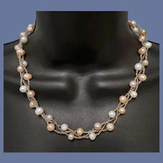 Triple Strand Real Pearl Necklace Silver Foil Seed Beads