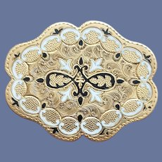 Victorian Brooch taille d'épargne Gold Filled Likely Mourning Jewelry