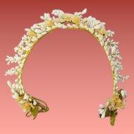 Antique Wax Wedding Crown Orange Blossom Flowers a Bride or Dolls