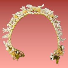 Antique Wax Wedding Crown Orange Blossom Flowers Bride or Dolls