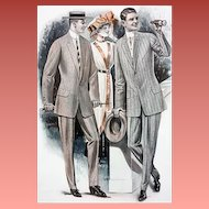 Mens Suits Catalog Advertising Page Antique 1913 Horse Races Huge