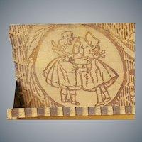 Sunbonnet Babies Antique Wood Box Pyrograph 1900