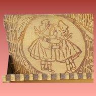 Sunbonnet Babies Antique Pyrography Pencil Box 1900 Rare