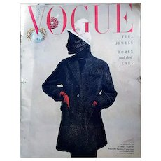 Amazing Vogue Magazine October 1949 Adrian Fashion Jewelry Advertising Original