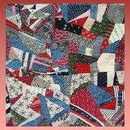 Rare Antique Cotton Crazy Quilt 1870 - 1890 Textile Art