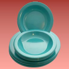Vintage Dallas Ware Bowls and Plates Turquoise Mint Mid Century Modern
